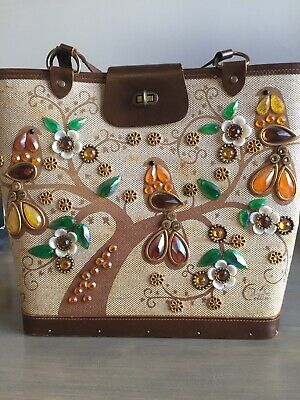 $129.99 • Buy Vtg Enid Collins Of Texas  Sittin In A Treetop  Jeweled Birds Purse Handbag Tote