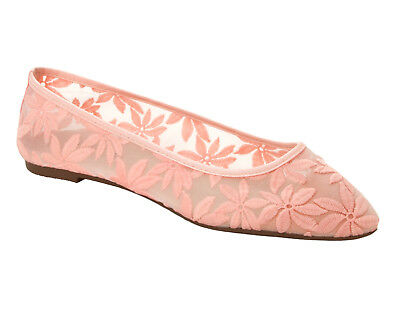 £14.99 • Buy Womens Pink Lace Wedding Party Flat Ballet Slip On Pumps Shoes Ladies Size
