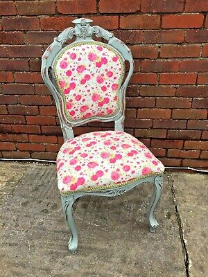 Shabby Chic French Style Upholstered Carver Chair - Pink Floral Fabric • 45£