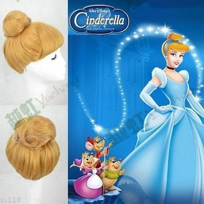 Princess Cinderella Blonde Style Synthetic Cosplay Wig Cos Wigs +free Wig Cap • 16£