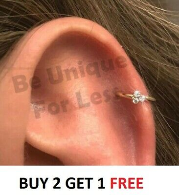 Threh Diamante Crystal Cartilage Earring,Cartilage Tragus Nose Hoop Helix Ring • 2.99£