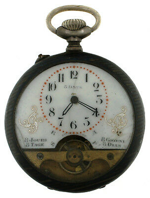 AU519.18 • Buy Antique Visible Escapement Coin Silver 8 Day Ancre Swiss Open Face Pocket Watch