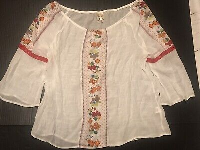 $ CDN30.39 • Buy Fig + Flower Anthropologie •P XL• Petite Floral Boho Peasant Top White Festival