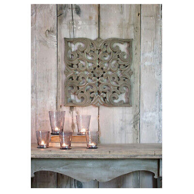 £29.95 • Buy Hand Carved Distressed Grey Mango Wood Art Square Wall Panel Decoration