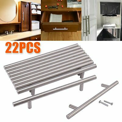 22 Set Brushed Steel T Bar Handles Kitchen/Cabinet/Door/Cupboard/Drawer/Bedroom • 6.59£