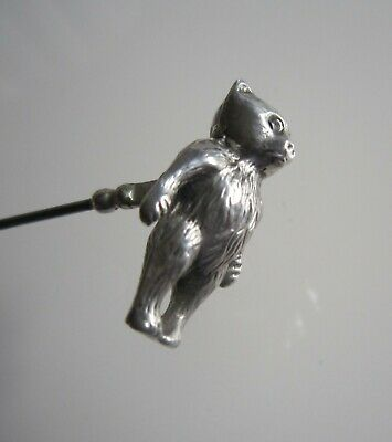 Adie & Lovekin Hallmarked Silver Teddy Bear Hat Pin - (764) • 50£