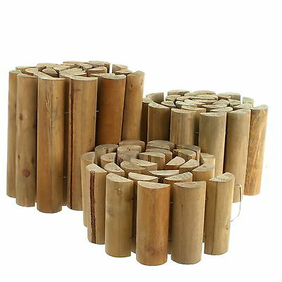 £14.99 • Buy Garden Lawn Wooden Log Edging Roll Border Outdoor Fixed Picket Fence Edge 1.8m