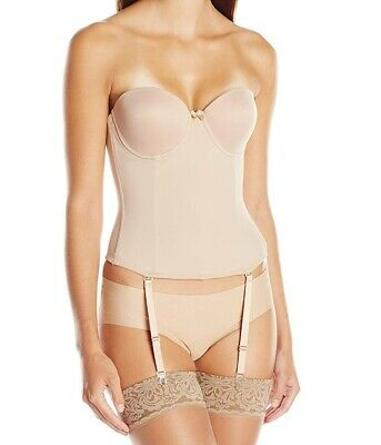 Va Bien Womens Bustier Beige USA Size 36C Ultra-Lift Low Back Hook & Eye $75 196 • 29.99£