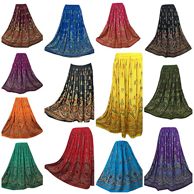 Sequin Party Skirt Indian Maxi New Gypsy Hippie Long UK 8 10 12 14 16 18 20 22 • 12.99£