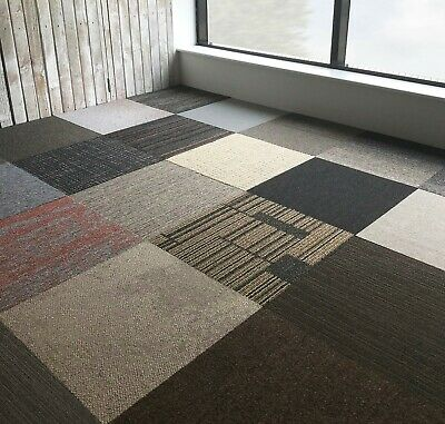 Carpet Tiles Various Soft Cut Pile UK Brand All New Box Of 20 Delivered 5m2 HD • 19.98£