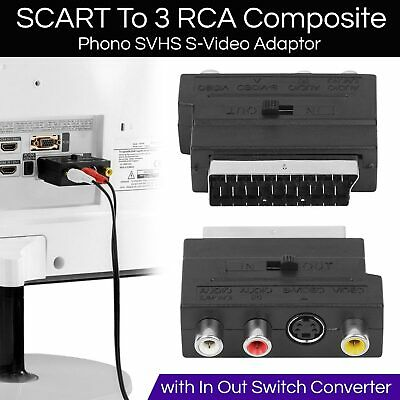 SCART To 3 RCA Composite Phono SVHS S-Video Adapter With In Out Switch Converter • 1.99£