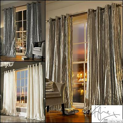 ILIANA Luxurious EYELET Ring Top VELOUR LINED Velvet Curtains PAIR • 91£