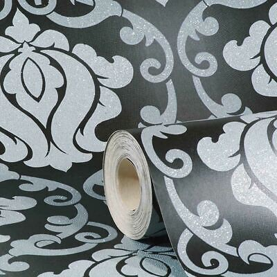 A.S Creation Jewel Damask Black Grey Metallic Sparkle Glitter Wallpaper 34860-4 • 13.45£