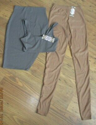 BNWT,size 8 Boohoo Womens Clothes Bundle,grey Crop Top/bandage Skirt,leggings • 1.99£