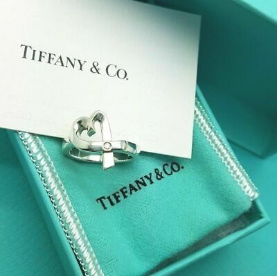 Tiffany & Co Silver Paloma Picasso Loving Heart Ring With A Diamond Size L 1/2 • 217.28£