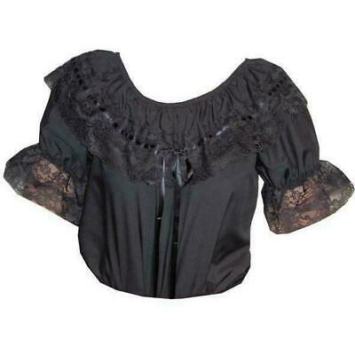 $22.99 • Buy Square Dance Blouse Black Small Medium MALCO MODES 125 Short Sleeve Lace NEW