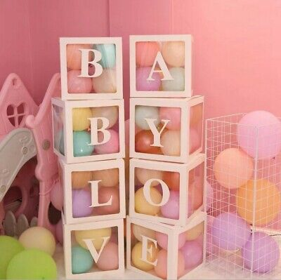 AU28.49 • Buy 4Pcs/Set LOVE BABY Transparent Balloon Box Gift Boxes Birthday Baby Shower Party