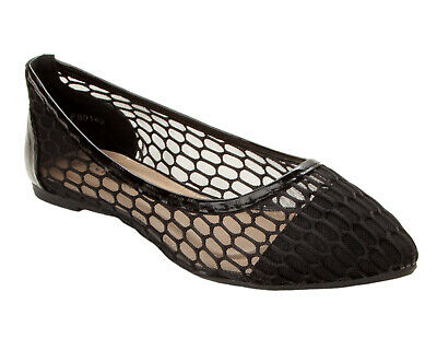 £9.95 • Buy Womens Black Patent Mesh Flat Ballet Slip On Dolly Pumps Shoes Ladies Size 3-8
