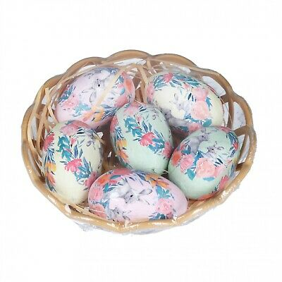 Gisela Graham Easter Decorations - 6 Floral Design Eggs - Vintage Style Decs • 5.99£
