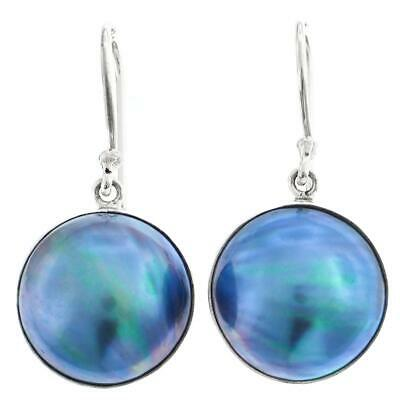 $32.95 • Buy 11/16  IRIDESCENT LUSTER BLUE MABE PEARL 925 STERLING SILVER Earrings