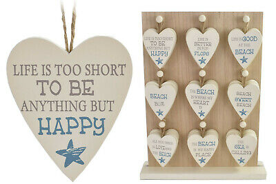 Small Heart Sign Life's Too Short Better In Flip Flops Beach Bum Happy Place Sea • 2.25£