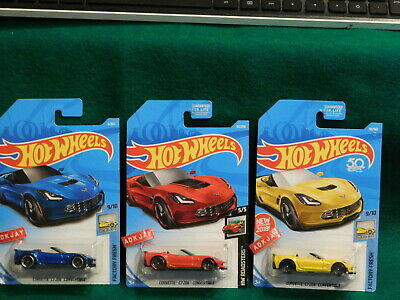 $4.99 • Buy Hot Wheels ~ Corvette C7 Z06 Convertible ~ Yellow, Blue & Red ~ 3 Cars
