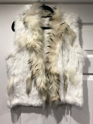£35 • Buy Rabbit Fur Gilet, Brand New, Hedwig Colours Cream With Brown Trim Size 10 12 14