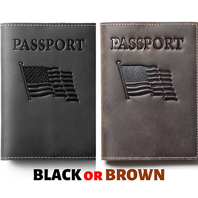 $5.99 • Buy Genuine Leather US Passport Holder Card ID Case Protector Cover Travel Wallet