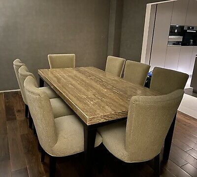 £1500 • Buy Kesterport Travertine Stone Dining Table With 8 Chairs