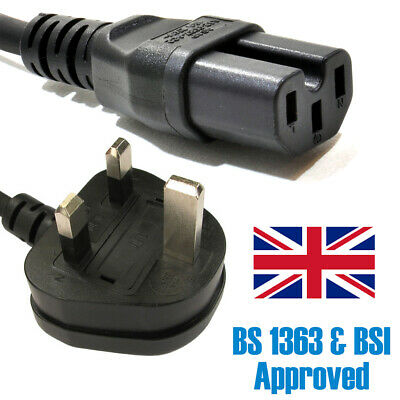 Power Cord UK Plug To Hot IEC C13 Heat Cable Lead For Kettles 1m • 6.95£