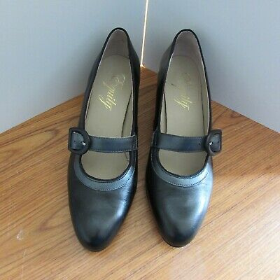 Equity Black Leather Court Shoes With Strap Size 7 • 12.50£