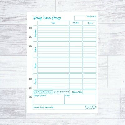 £5.99 • Buy A5 Calorie Counting  Filofax Kikki Comp Refill Food Diary Sheets Diet 4-12 Wk