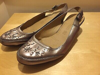 M&S Footglove Pewter Leather Slingback Shoes UK 8 In Wider Fit BRAND NEW • 19.99£