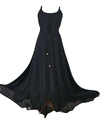 £24.99 • Buy Maxi Gothic Dress Corset Pagan Embroidered Black Size 8 10 12 14 16 18 20 22 24