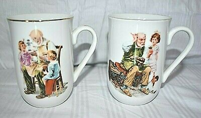 $ CDN10.50 • Buy Vintage Norman Rockwell Mug Set Of 2 Museum Classics The Cobbler & The Toy Maker