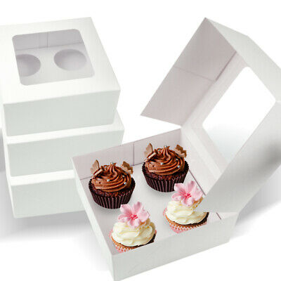AU49.99 • Buy 4 Holes Cupcake Boxes 20/50/100 Pk Window Face Cover Inserts Cake Boxes Boards