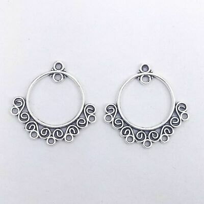 £2.25 • Buy 10pcs 5 Pairs Tibetan Silver Round Connectors Earring Chandeliers 23mm