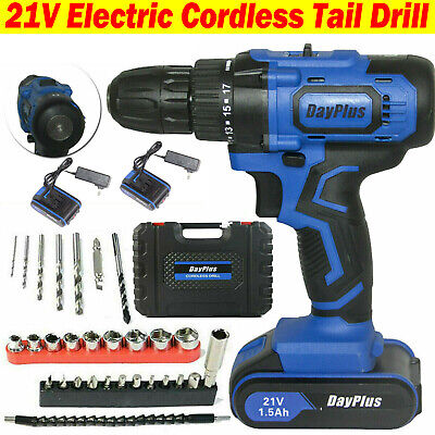 View Details 21V CORDLESS COMBI HAMMER IMPACT DRILL DRIVER ELECTRIC SCREWDRIVER & 2 BATTERIES • 38.80£