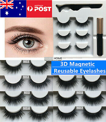 AU13.99 • Buy Magnetic Eyelashes Makeup Reusable False Fake Eye Lashes Eyeliner Extensions NEW
