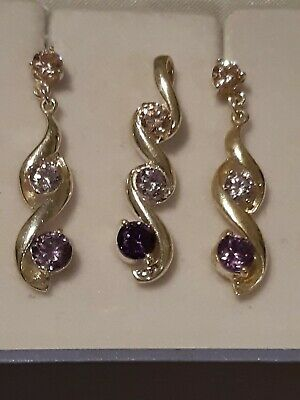AU45 • Buy Sterling Silver 925 Purple Simulated Diamond Earing Pendant Set - Unwanted Gift