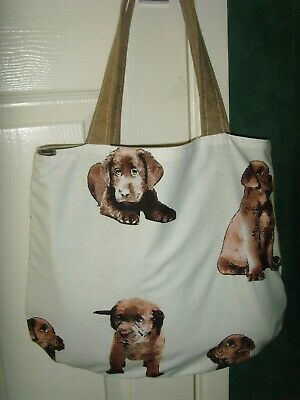 HANDMADE CHOCOLATE LABRADOR DOG  PRINT FABRIC Tote Book Bag Shopper LINED 14in  • 7.99£