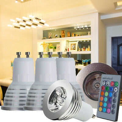 4X GU10 4W 16 Color Changing RGB Dimmable LED Light Bulbs Lamp RC Remote Spot UK • 10.44£