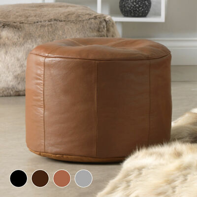 Luxury Real Leather Pouffe Designer Footstool Leather Stool Footrest • 84.99£