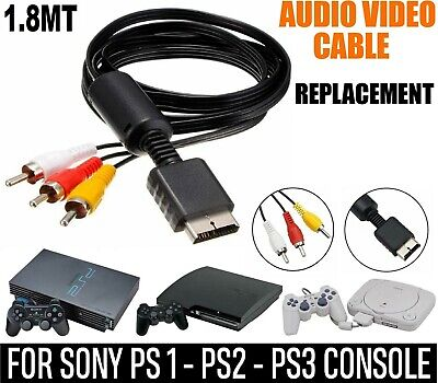 RCA To AV Audio Video Cable TV Scart Lead For Playstation PS1 PS2 PS3 Adapter • 3.29£