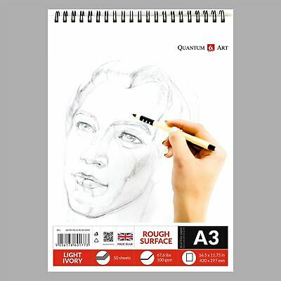 £7.99 • Buy A3 Sketch Pad Drawing Painting Artist Paper On Spiral Book -50 Sheets 100 Pages