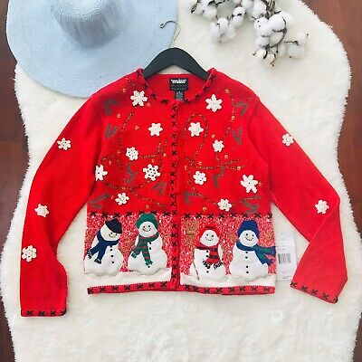 $7.50 • Buy Vintage Women's Christmas Sweater Cardigan Size Small Sweater