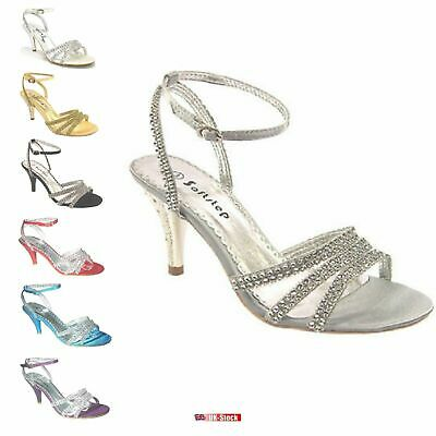 £13.99 • Buy Women's Party Prom Simulated Diamante Wedding Bridal Sandals Shoes Uk Size F-439