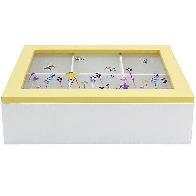 Busy Bee 6 Compartment Tea Bag Box Caddy Kitchen Teabag Storage Organiser Chest • 10.95£