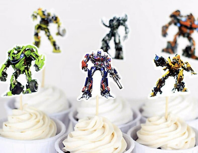 12 X Transformers Cake Picks Cupcake Toppers Flag Kids Birthday Party • 2.49£