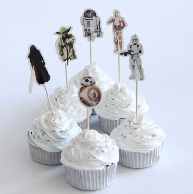 12 X Star Wars Cake Picks Cupcake Toppers Flags Kids Birthday Party • 2.49£